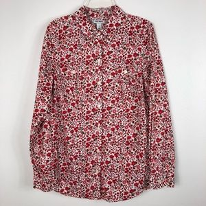 Old Navy Red Floral Print Button Down Shirt